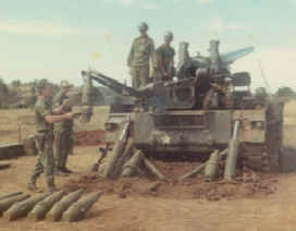 "B Battery of the 6th Battalion, 14th Artillery loading ""BRUTE"""