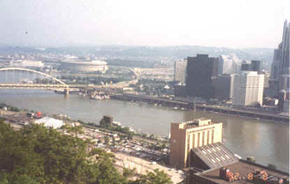 1992 Reunion hotel in lower right corner, Pittsburgh skyline