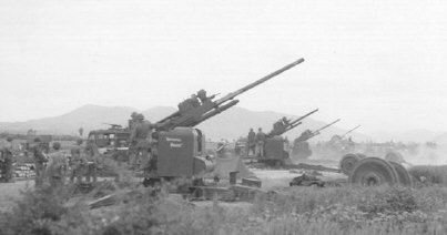 90mm guns ready to lay down a barrage