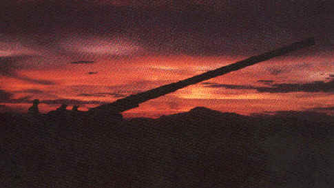 175mm gun @ sunset